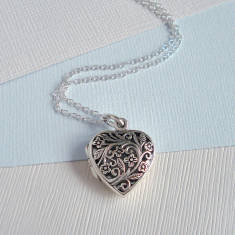 Sterling Silver Floral Filigree Heart Locket