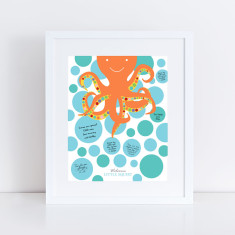 Personalised octopus signature guest book print