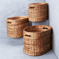 Textural waterhyacinth oval baskets