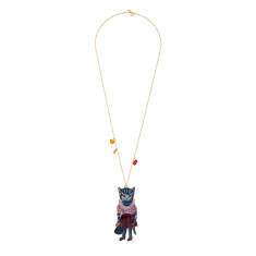 Blue Cat Long Necklace