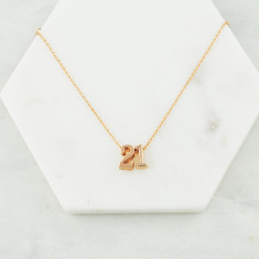 Personalised lucky number necklace in rose gold