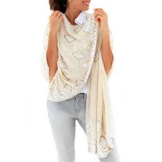 Sequin Mosaic scarf in cream & gold