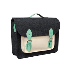 Dark grey ecru felt laptop bag with mint leather detail
