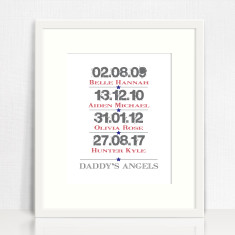 Daddy's angels personalised print