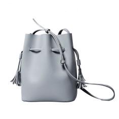 Leather bucket bag with detachable inner bag