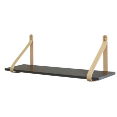 Nude leather strap shelf in charcoal