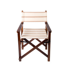 Beige and white stripe directors chair