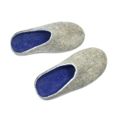 Men's Wool Felted Clogs in Grey Blue