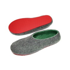 Men's Wool Slippers In Green Energy