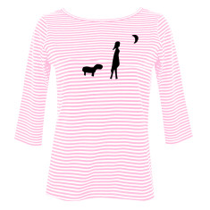 Dog Girl Moon / women's striped boatneck top