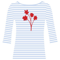 Bunch of Flowers / womens boatneck top