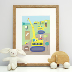 Personalised Digger Mounted Print