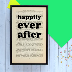 Wedding Gift Happily Ever After quote - book page print
