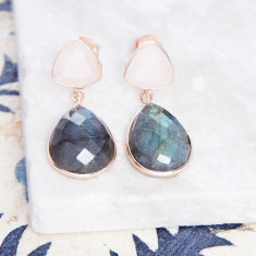 Victoria Drop Earrings In Rose Gold Plate