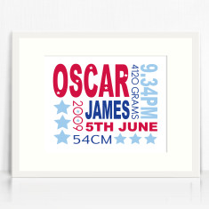 Boys personalised birth details prints