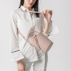 Vintage style leather bucket tote bag in pink