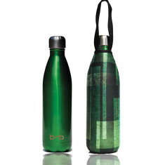 Stainless steel future bottle 750ml with carry cover in moss print