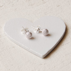 Frosted Silver Stud Earrings