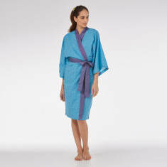Cotton Kimono Robe in Blue Mini Orchid print