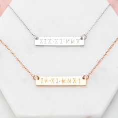 Personalised hand stamped roman numerals date bar necklace in rose gold or silver