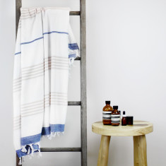 Capri Turkish Towel in Blue & Latte