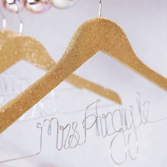 Personalised glitter wedding hanger