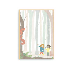 In the Forest with Squirrels Nursery Wall Art Print