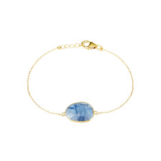 Central Stone Pebble Bracelet In Gold Plate With Tanzanite