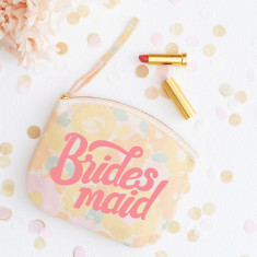 Bridesmaid Floral Canvas Pouch