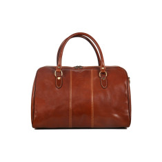 Small Albertis leather weekender bag in brown