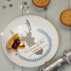 Personalised Winter Stag Nibbles Side Plate