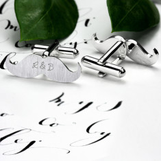 Personalised Sterling Silver Moustache Cufflinks