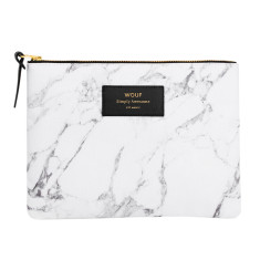 Wouf large pouch in white marble print
