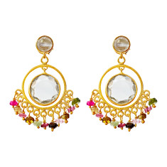 Sara circle earrings with multi tourmaline mix