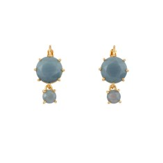 Two round stone earrings with Blue Grey Diamantine