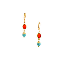 Petite Turquoise howlite and vintage lucite drop earrings