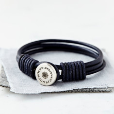 Personalised Silver And Leather Coordinate Bracelet