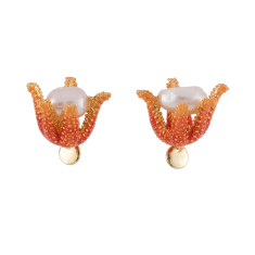 Pearl Inside Coral Earrings