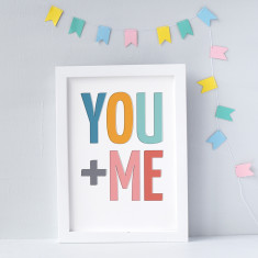 YOU + ME Typographic Print
