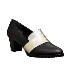 Sheba Block Heel Leather Pumps In Black with Metallic Band