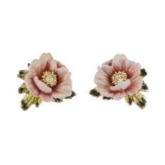 Soft Pink Potentilla Flower Earrings