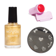 Nail art stamping image plate and nail polish set (various designs)