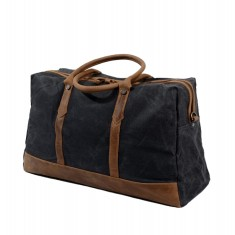 Black Canvas Weekender Bag With Leather Handle