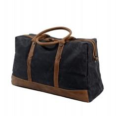 Black Canvas Travel Waterproof Bag Duffle Bag Weekend Bag With Leather Handle
