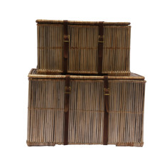 Hemingway Set of 2 Rattan Trunks with leather (grey wash)