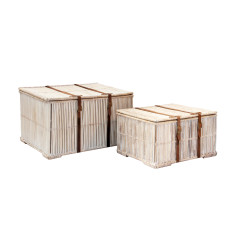 Hemingway Set of 2 Rattan Trunks with leather (white)