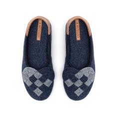 Elskling Slipper, Navy/Grey Wool Felt
