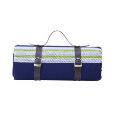 Picnic blanket with waterproof backing and straps (blue)