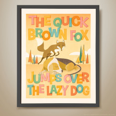 The quick brown fox jumps over the lazy dog retro kids' print