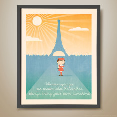 Wherever you go retro kids' print